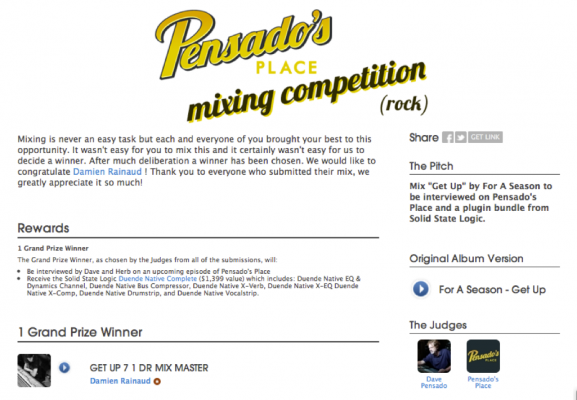 Damien Rainaud - Winning Pensado's Place Contest